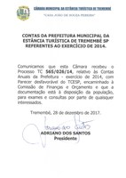 Contas da Prefeitura Municipal da Estância Turística de Tremembé