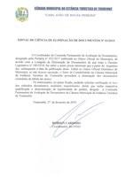 Edital de Ciência de Eliminação de Documentos n° 01-2019