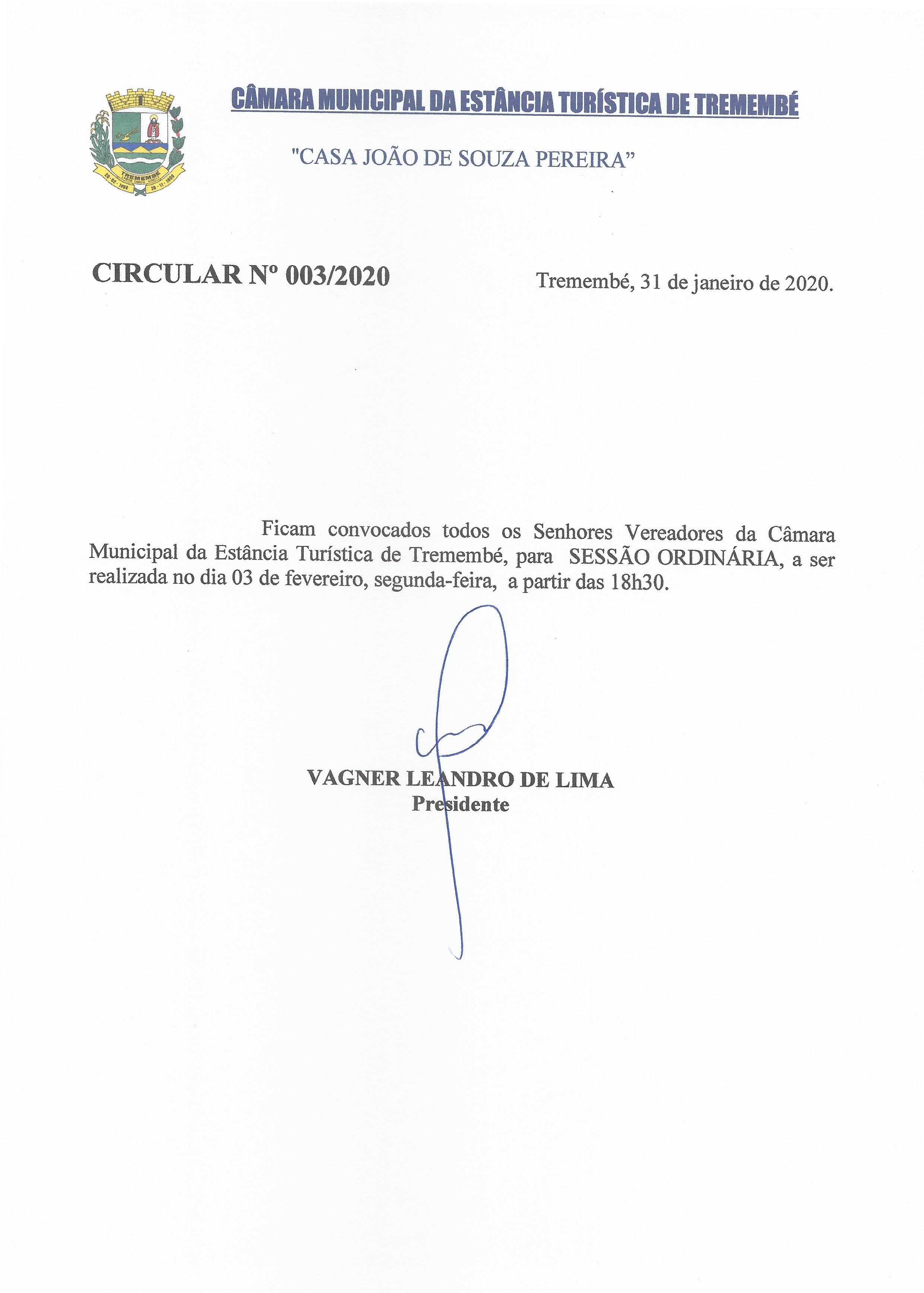 Pauta da 122ª Sessão Ordinária - 03/02/2020