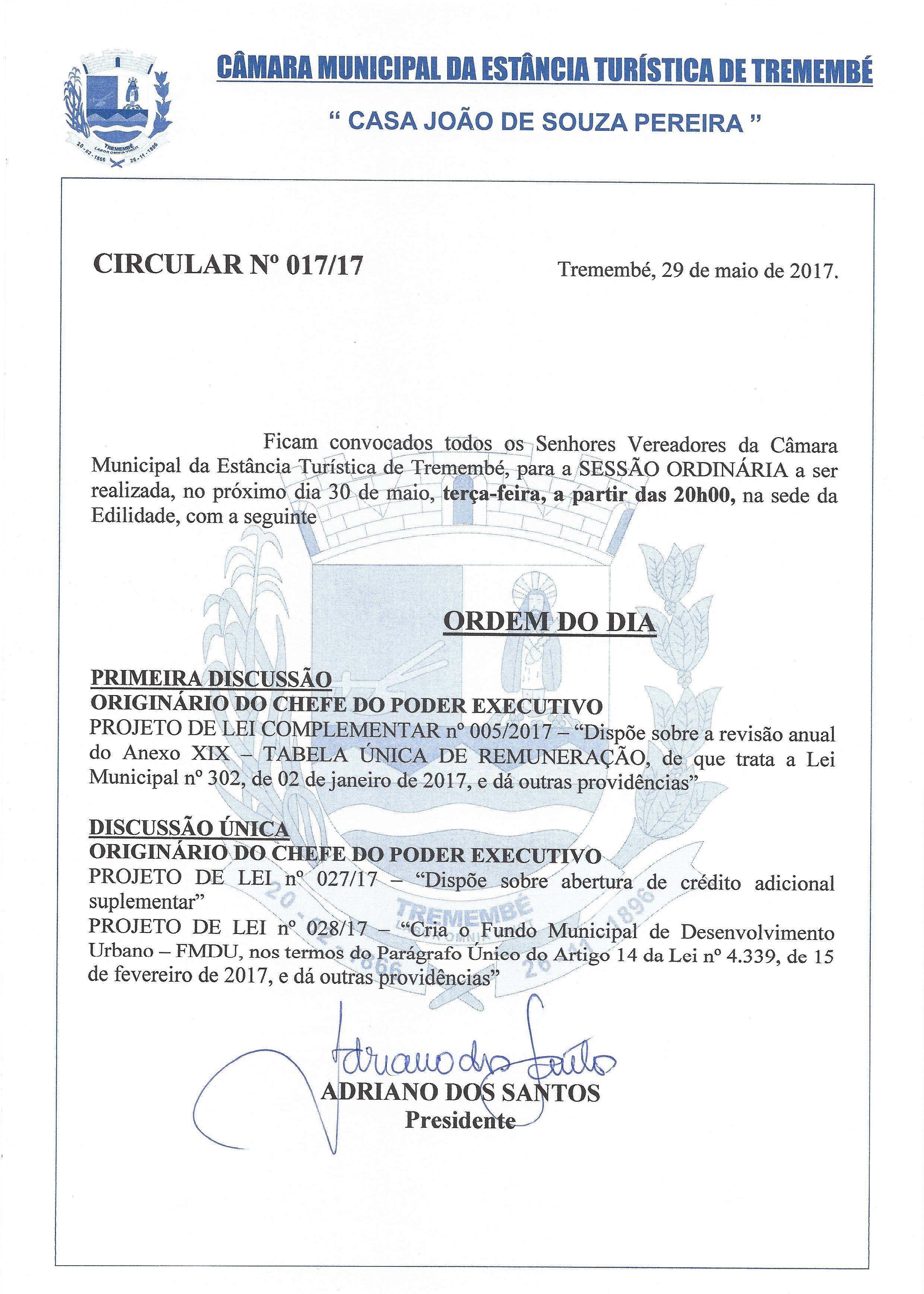 Pauta da 17° Sessão Ordinária - 30-05-2017