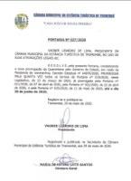 Portaria n° 027-2020 - Prorrogação do regime de plantão da Câmara Municipal