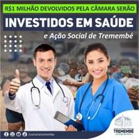 R$1 milhão de reais devolvidos pela Câmara serão investidos em saúde e ação social