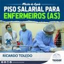 Vereadores Ricardo apoia mudança de lei para introduzir piso salarial aos enfermeiros