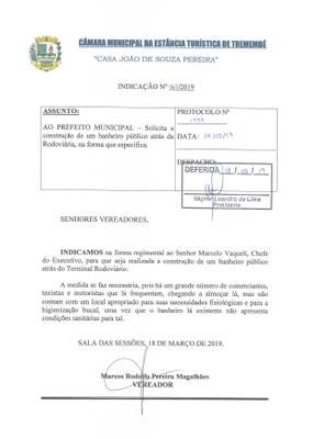 Indicação n° 063-19 - Marcos Rodolfo